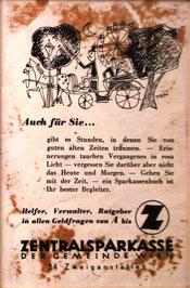 Inserat der Zentralsparkasse der Gemeinde Wien um 1956. Kutsche im Prater Wien. Werbung: Sparkassenbuch.