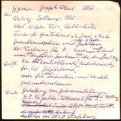 Heinz Traimer. Handschriftliche Notizen zu seinem Leben.
