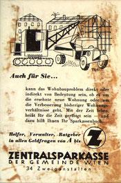 Inserat der Zentralsparkasse der Gemeinde Wien um 1956. Bauwirtschaft. Werbung: Sparkassenbuch.