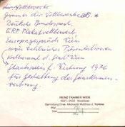 Heinz Traimer. Handschriftliche Notizen zu seinem Leben (um 1980).