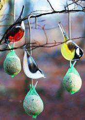 Vogelfutterstelle aus Glas, handgefertigt