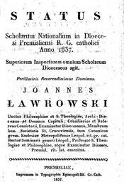 Status Scholarum Dioecesi Premisliensi 1837