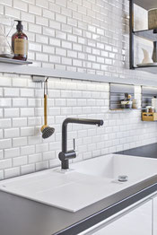 mosaico ceramica mattoncino bianco