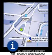 Grafik: Anfahrt und Kontakt zur Generalagentur Homfeldt in Hamburg Rahlstedt
