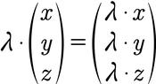 Formel für die Berechnung der Skalarmultiplikation von 3D Vektoren