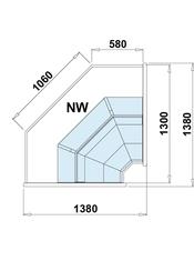 dimensions vitrine réfrigérée d'angle