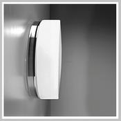 Drum Metall - LED-Wandleuchte, weiss oder chrom, Triplex-Glas