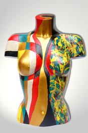 Torso, Skulptur, bunt, abstrakt, Art, Kunst, Malerei, Original, Unikat, Kunststoff, Acryl, weiblich, 18