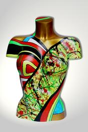Torso, Skulptur, bunt, abstrakt, Art, Kunst, Malerei, Original, Unikat, Kunststoff, Acryl, weiblich, 32