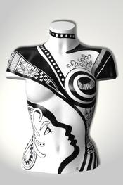 Torso, Skulptur, bunt, abstrakt, Art, Kunst, Malerei, Original, Unikat, Kunststoff, Acryl, Gesicht, schwarz, weiss, weiblich, 102