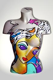 Torso, Skulptur, bunt, abstrakt, Art, Kunst, Malerei, Original, Unikat, Kunststoff, Acryl, Gesicht, weiblich, 123