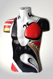 Torso, Skulptur, bunt, abstrakt, Art, Kunst, Malerei, Original, Unikat, Kunststoff, Acryl, männlich, schwarz, rot, 93