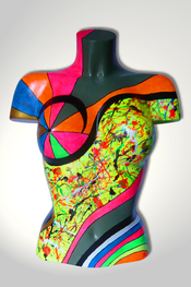 Torso, Skulptur, bunt, abstrakt, Art, Kunst, Malerei, Original, Unikat, Kunststoff, Acryl, weiblich, 48