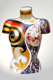 Torso, Skulptur, bunt, abstrakt, Art, Kunst, Malerei, Original, Unikat, Kunststoff, Acryl, weiblich, 56