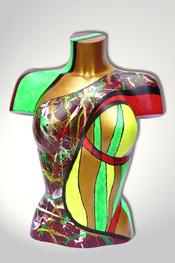 Torso, Skulptur, bunt, abstrakt, Art, Kunst, Malerei, Original, Unikat, Kunststoff, Acryl, weiblich, 29