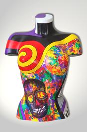 Torso, Skulptur, bunt, abstrakt, Art, Kunst, Malerei, Original, Unikat, Kunststoff, Acryl, Totenkopf, skull, weiblich, 101
