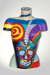 Torso, Skulptur, bunt, abstrakt, Art, Kunst, Malerei, Original, Unikat, Kunststoff, Acryl, Totenkopf, weiblich, 118