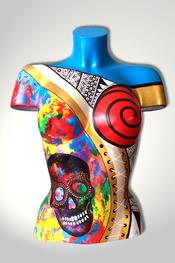 Torso, Skulptur, bunt, abstrakt, Art, Kunst, Malerei, Original, Unikat, Kunststoff, Acryl, Totenkopf, skull, weiblich, 105