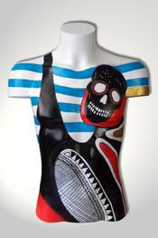Torso, Skulptur, bunt, abstrakt, Art, Kunst, Malerei, Original, Unikat, Kunststoff, Acryl, männlich, Totenkopf, skull, 98