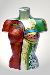 Torso, Skulptur, bunt, abstrakt, Art, Kunst, Malerei, Original, Unikat, Kunststoff, Acryl, weiblich, 19