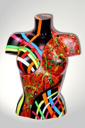 Torso, Skulptur, bunt, abstrakt, Art, Kunst, Malerei, Original, Unikat, Kunststoff, Acryl, weiblich, 39