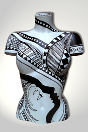 Torso, Skulptur, bunt, abstrakt, Art, Kunst, Malerei, Original, Unikat, Kunststoff, Acryl, weiblich, 80, schwarz, weiss, Gesicht