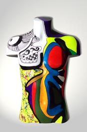 Torso, Skulptur, bunt, abstrakt, Art, Kunst, Malerei, Original, Unikat, Kunststoff, Acryl, männlich, 89