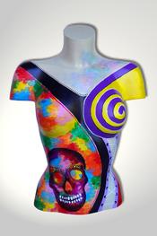 Torso, Skulptur, bunt, abstrakt, Art, Kunst, Malerei, Original, Unikat, Kunststoff, Acryl, Totenkopf, weiblich, 114