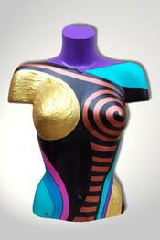Torso, Skulptur, bunt, abstrakt, Art, Kunst, Malerei, Original, Unikat, Kunststoff, Acryl, weiblich, 128