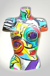 Torso, Skulptur, bunt, abstrakt, Art, Kunst, Malerei, Original, Unikat, Kunststoff, Acryl, Gesicht, weiblich, 133