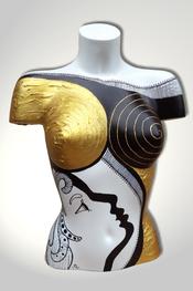 Torso, Skulptur, bunt, abstrakt, Art, Kunst, Malerei, Original, Unikat, Kunststoff, Acryl, Gesicht, weiblich, 125, schwarz, weiss, Gold