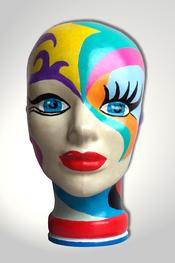 Torso, Skulptur, bunt, abstrakt, Art, Kunst, Malerei, Original, Unikat, Kunststoff, Acryl, Gesicht, weiblich, 121, Glas, Kopf