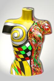 Torso, Skulptur, bunt, abstrakt, Art, Kunst, Malerei, Original, Unikat, Kunststoff, Acryl, weiblich, 21