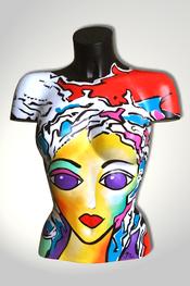 Torso, Skulptur, bunt, abstrakt, Art, Kunst, Malerei, Original, Unikat, Kunststoff, Acryl, Gesicht, weiblich, 124