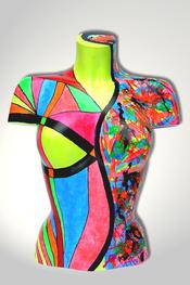 Torso, Skulptur, bunt, abstrakt, Art, Kunst, Malerei, Original, Unikat, Kunststoff, Acryl, weiblich, 23