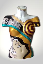 Torso, Skulptur, bunt, abstrakt, Art, Kunst, Malerei, Original, Unikat, Kunststoff, Acryl, Gesicht, weiblich, 99