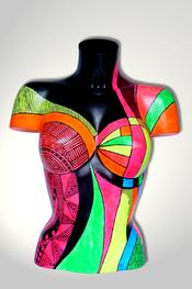 Torso, Skulptur, bunt, abstrakt, Art, Kunst, Malerei, Original, Unikat, Kunststoff, Acryl, weiblich, 31