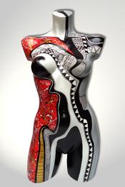 Torso, Skulptur, bunt, abstrakt, Art, Kunst, Malerei, Original, Unikat, Kunststoff, Acryl, weiblich, 87