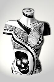 Torso, Skulptur, schwarz, weiss, Totenkopf, skull, abstrakt, Art, Kunst, Malerei, Original, Unikat, Kunststoff, Acryl, weiblich, 97