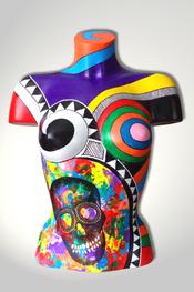 Torso, Skulptur, bunt, abstrakt, Art, Kunst, Malerei, Original, Unikat, Kunststoff, Acryl, Totenkopf, skull, weiblich, 100