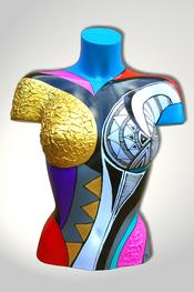 Torso, Skulptur, bunt, abstrakt, Art, Kunst, Malerei, Original, Unikat, Kunststoff, Acryl, weiblich, 130