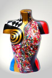 Torso, Skulptur, bunt, abstrakt, Art, Kunst, Malerei, Original, Unikat, Kunststoff, Acryl, weiblich, 10