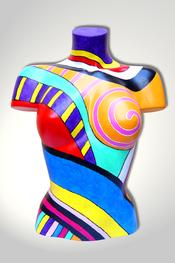 Torso, Skulptur, bunt, abstrakt, Art, Kunst, Malerei, Original, Unikat, Kunststoff, Acryl, weiblich, 52