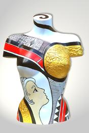 Torso, Skulptur, bunt, abstrakt, Art, Kunst, Malerei, Original, Unikat, Kunststoff, Acryl, Gesicht, weiblich, 132, schwarz, rot, Gold, weiss
