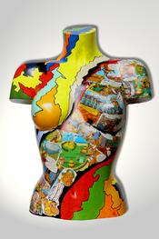 Torso, Skulptur, bunt, abstrakt, Art, Kunst, Malerei, Original, Unikat, Kunststoff, Acryl, weiblich, 42, Collage
