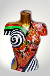 Torso, Skulptur, bunt, abstrakt, Art, Kunst, Malerei, Original, Unikat, Kunststoff, Acryl, weiblich, 33