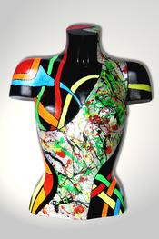 Torso, Skulptur, bunt, abstrakt, Art, Kunst, Malerei, Original, Unikat, Kunststoff, Acryl, weiblich, 37