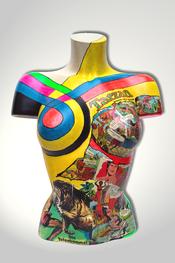 Torso, Skulptur, bunt, abstrakt, Art, Kunst, Malerei, Original, Unikat, Kunststoff, Acryl, weiblich, 68, Collage
