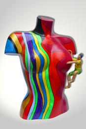 Torso, Skulptur, bunt, abstrakt, Art, Kunst, Malerei, Original, Unikat, Kunststoff, Acryl, weiblich, 8, Kletterer