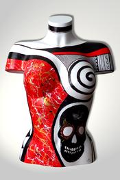 Torso, Skulptur, bunt, abstrakt, Art, Kunst, Malerei, Original, Unikat, Kunststoff, Acryl, schwarz, rot, Totenkopf, skull, weiblich, 107